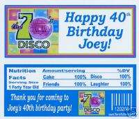 70s birthday party favors candy wrappers personalized