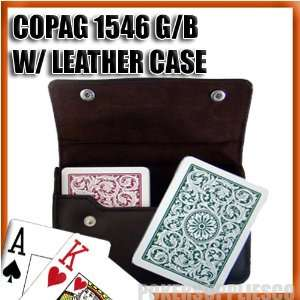 Copag Plastic Cards Leather Case Set 1546 Green/Burgundy