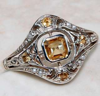 Natural Citrine, Seed Pearl & 925 SOLID STERLING SILVER ring , size 6