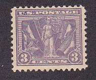 US 537 MNH 1919 3¢ Violet Victory and Flags of Allies Issue