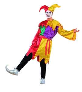 Adult Multicolor Court Jester Men Halloween Costume