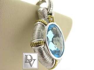 NEW LADIES JUDITH RIPKA BLUE TOPAZ DIAMOND GOLD PENDANT