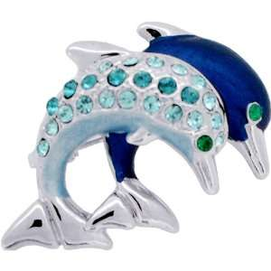 Blue Couple Dolphin Swarovski Crystal Animal Brooches Pins: Jewelry