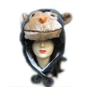 Plush Monkey Animal Hat   Monkey Hat with Ear Flaps and