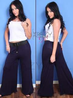 New Ladys Womens WIDE LEG Palazzo Belted Pants TROUSER Size S,M,L,XL