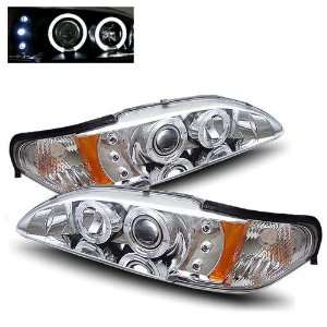 94 98 Ford Mustang Chrome LED Halo Projector Headlights