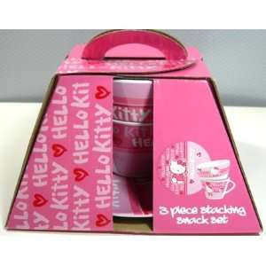 Hello Kitty 3 Piece Stacking Snack Plate & Cup Set (Pink/mulit) Baby
