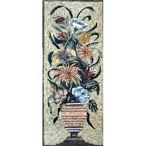 18x44 Flower Mosaic Mural Art Decor Indoor Outdoor