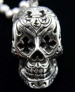 King Baby LG Day of Dead skull Pendant Cross eyes 925