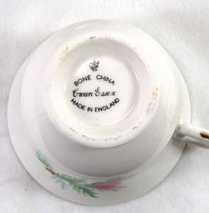 VTG Crown Essex England Bone China C/S Red Flower Gild
