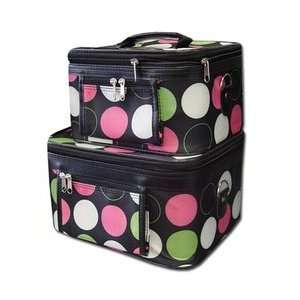 Case Cosmetic Toiletry 2 Piece Luggage Set Pink Green Retro Polka Dots