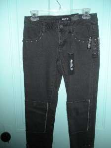 New ALLEN B. Black Stretch Studded Skinny Jeans 4 NWT $58 Punk ABS