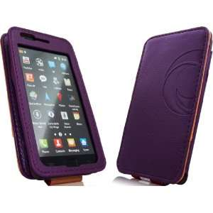 Premium PU Leather Magneta Card Holding Flip Case Purple Electronics