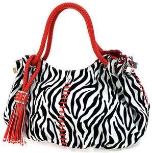 DESIGNER INSPIRED ZEBRA HOBO HANDBAG PURSE BAG NTW RED