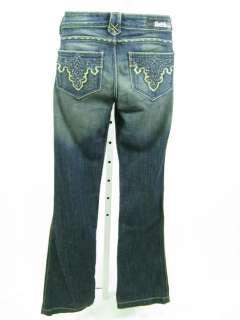 NWT ANTIK Flare Leg Blue Dark Wash Gold Embroidered Denim Jeans Size