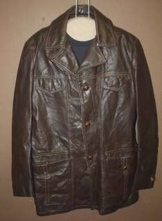 VTG MOD/ROCKABILLY/HIPSTER LEATHER COAT/JACKET sz L
