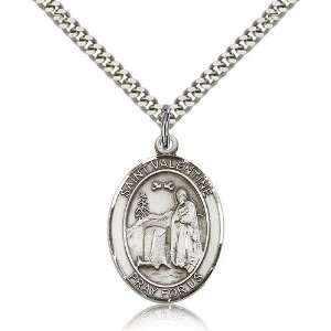 925 Sterling Silver St. Saint Valentine of Rome Medal Pendant 1 x 3/4