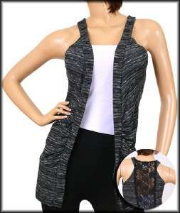 OPEN CARDIGAN tunic VEST gray black LACE back NEW XL