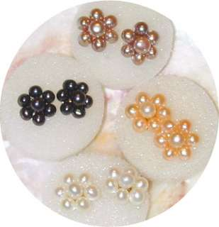 4mm Black Flower Pearl Earring Studsround/round1