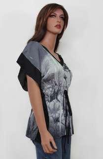 New Sublimation Gray Floral Print Kimono Tunic Top V Neck Empire USA