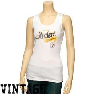 Pittsburgh Steelers Ladies White Play Time Vintage Tank