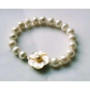 Big 10mm White Pearl & Shell Flower Clasp Bracelet