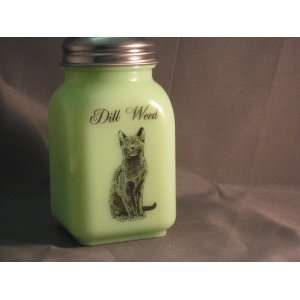 Green Milk Glass Dill Weed Spice Shaker with Caz the Cat