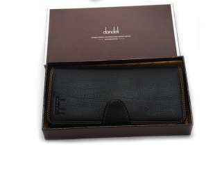 Mens real genuine Leather Long Wallet Pockets Card Clutch Bifold Purse