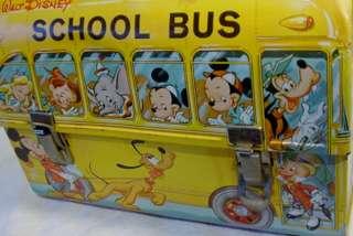 VTG WALT DISNEY METAL SCHOOL BUS LUNCHBOX W MATCHING THERMOS MICKEY