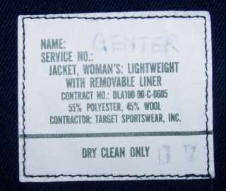 Authentic USAF BLUE WOMANS LIGHT DUTY JACKET SIZE 12R