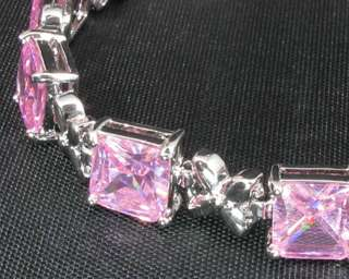 Fashion Jewelry Xmas Gift Pink Sapphire White Gold GP Bracelet Hand