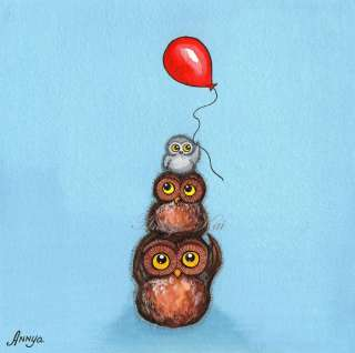 Little Owls Red Balloon Colorful Painting Nursery Decor