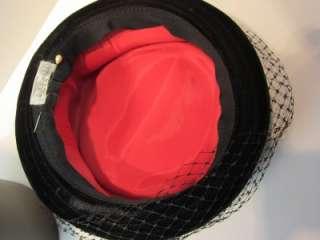 Vintage Womens 1960s Black Velvet Hat, Veil, Hatpin
