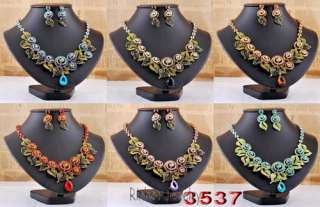 Necklace Earrings Set Volute Flower Leaf Golden/Silver Color Czech
