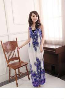 Exotic Summer Long Dress Peacock feathers Pattern Bohemian