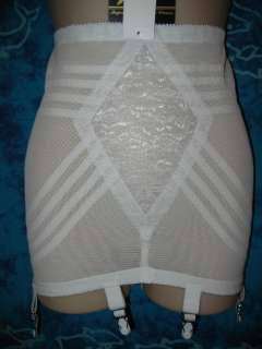 Rago WHITE 1359 Lace Open Bottom Girdle 6 Garters S 26