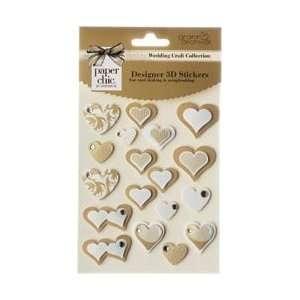 Grant Studios Wedding 3D Heart Stickers Gold; 3 Items/Order