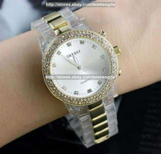 Ladys Transparent Luxury Crystal Quartz Wrist Watch