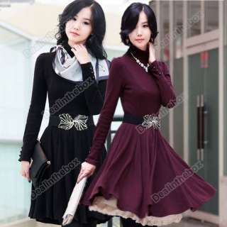 Women OL Stylish Slim Dress Fashion High Neck Long Sleeve Black Purple