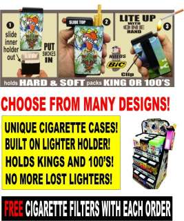 Cigarette Cases With Lighter Holder MANY Designs