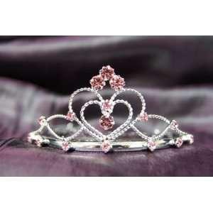 Princess Bridal Wedding Tiara Crown with Pink Crystal