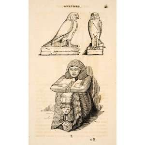 1836 Wood Engraving Egyptian Statues Falcon Horus Priestess