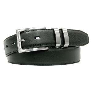 Mens Pebble Grain Leather Feather Edged Belt( COLOR Brown