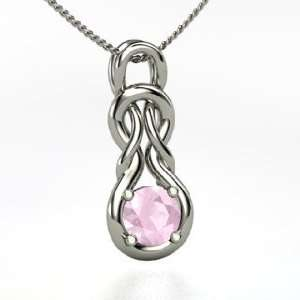 Forget Me Knot Pendant, Round Rose Quartz Sterling Silver Necklace
