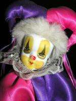 CLOWN DOLL CUTE COLORFUL NICE SIZE PORCELAIN FACE NEW