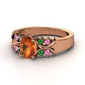 Gabrielle Ring, Oval Fire Opal 14K Rose Gold Ring with Emerald & Pink