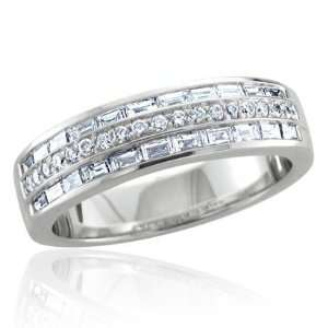 14k White Gold Round and Baguette Diamond Band Ring (GH