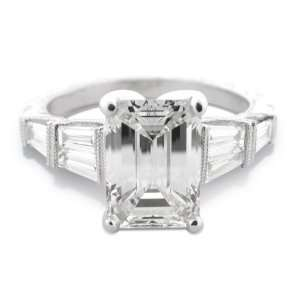 97 Ct Platinum Emerald Cut Diamond Ring (1.50 Ct UGL Certified Ctr