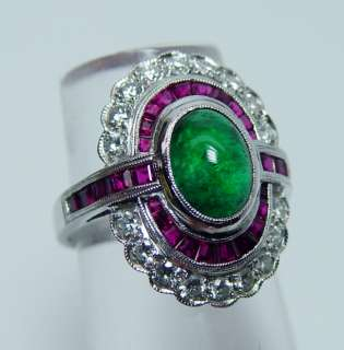 Vintage 18K White Gold Gem Emerald Ruby Diamond Ring