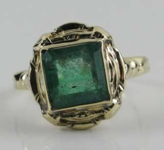 Art Nouveau 2.17ctw Princess Cut Emerald 10K Yellow Gold Ring 3g